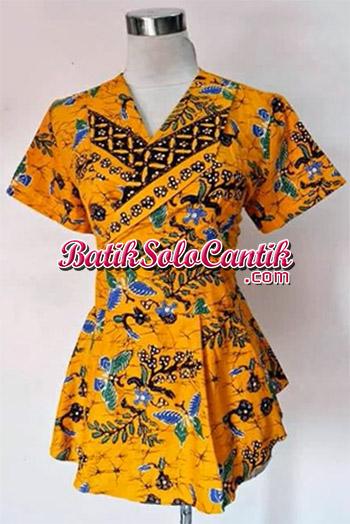 Blouse Batik Peplum Syahrini Ungu Model Baju Kerja