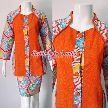 Baju Kerja Batik Kombinasi Emboss Terbaru