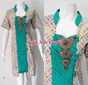 model baju kerja wanita batik kombinasi embioss