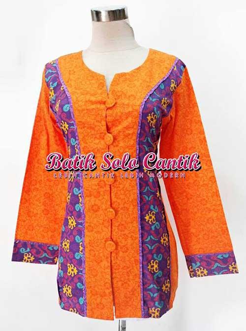 Baju Batik Wanita Model Kombinasi Embos