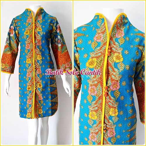 dress batik model tindes emas